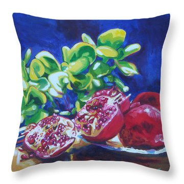 Pomegranates And Jade Throw Pillow