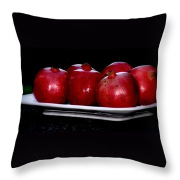 Throw Pillow featuring the photograph Pomegranates On White Platter by Tanya  Searcy