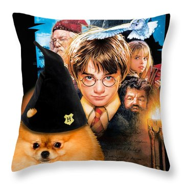 Pomeranian Art Canvas Print - Harry Potter Movie Poster Throw Pillow