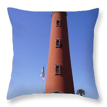 Throw Pillow featuring the photograph Ponce Inlet Lighthouse by Laurie Perry