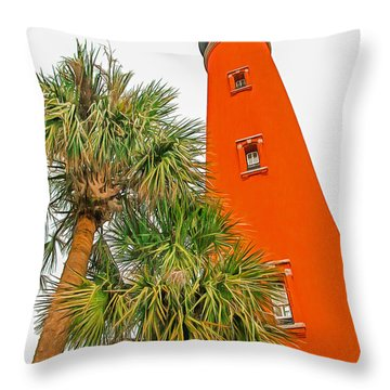Ponce Inlet Lighthouse Throw Pillow by Marion Johnson