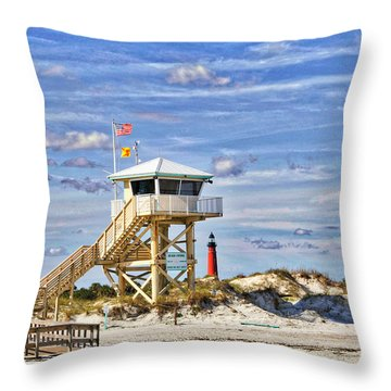 Ponce Inlet Scenic Throw Pillow by Alice Gipson