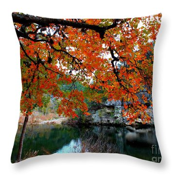 Fall At Lost Maples State Natural Area Throw Pillow