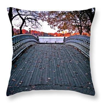 Pond Footbridge Throw Pillow