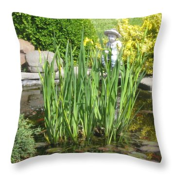 Throw Pillow featuring the photograph Pond Garden by Margaret Newcomb