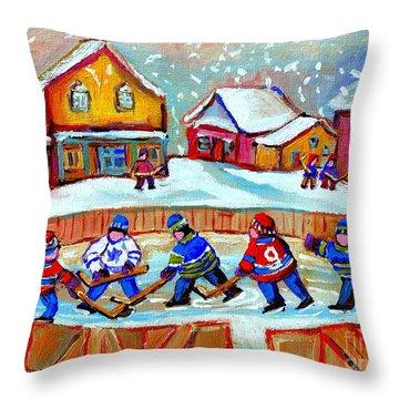 Pond Hockey Game Throw Pillow by Carole Spandau
