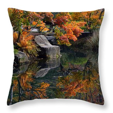 Pond In Autumn Throw Pillow