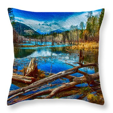 Throw Pillow featuring the painting Pondering A Mountain by Omaste Witkowski