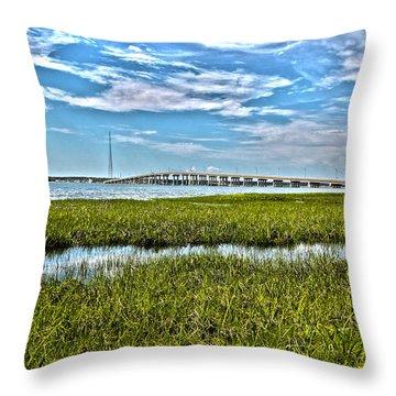 Ponquogue Bridge Throw Pillow