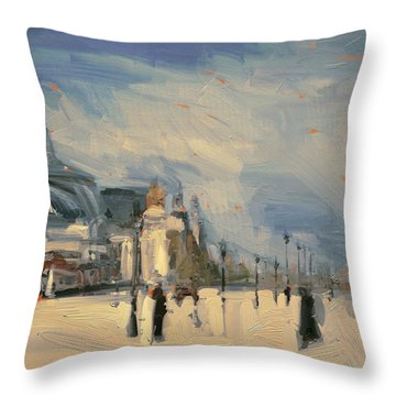 Throw Pillow featuring the painting Pont Alexandre 3 Paris by Nop Briex