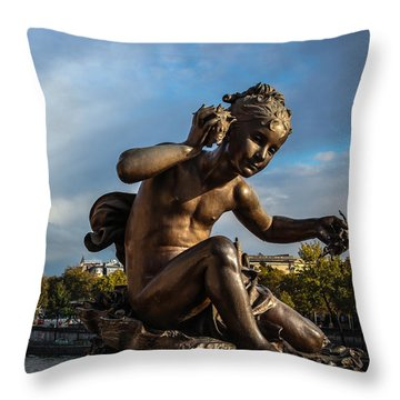Throw Pillow featuring the photograph Pont Alexandre IIi by Glenn DiPaola