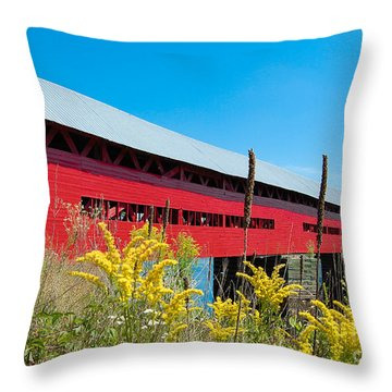 Throw Pillow featuring the photograph Pont Marchand by Bianca Nadeau