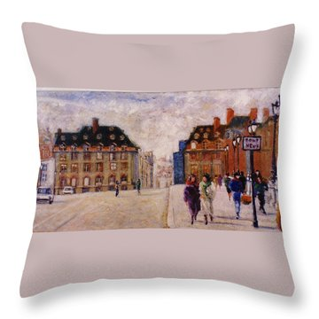 Throw Pillow featuring the painting Pont Neuf by Walter Casaravilla