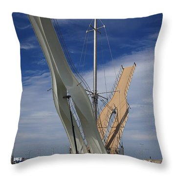 Pont Y Ddraig Bridge.  Throw Pillow by Christopher Rowlands