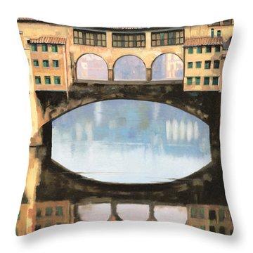 Ponte Vecchio A Firenze Throw Pillow by Guido Borelli