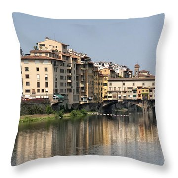 Ponte Vecchio And Vasari Corridor Throw Pillow