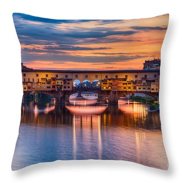 Ponte Vecchio At Sunset Throw Pillow