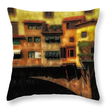 Ponte Vecchio Firenze Throw Pillow by Mike Nellums