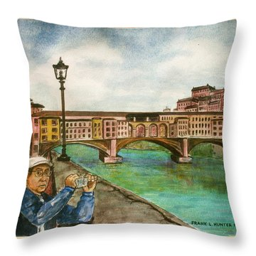 Ponte Vecchio Florence Italy Throw Pillow by Frank Hunter