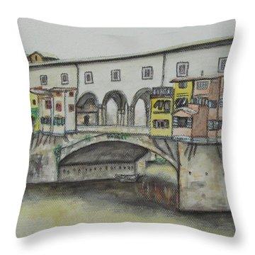Ponte Vecchio Florence Italy Throw Pillow