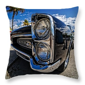 Pontiac Gto Convertible Ft Myers Beach Florida Throw Pillow by Edward Fielding