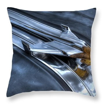 Throw Pillow featuring the photograph Pontiac Hood Ornament by Michael Colgate