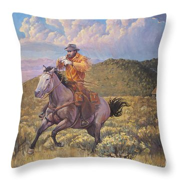 Pony Express Rider At Look Out Pass Throw Pillow by Rob Corsetti