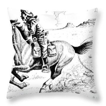 Pony Express Rider Throw Pillow