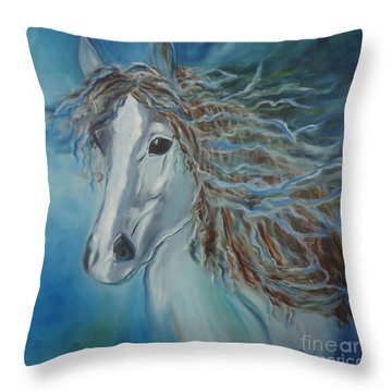Throw Pillow featuring the painting Pony by Jenny Lee