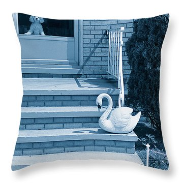 Poodle And Swan Throw Pillow