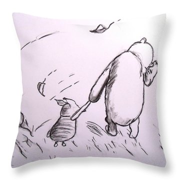 Pooh And Piglet Throw Pillow by Jessica Sanders