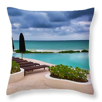 Pool At Rosewood Mayakoba Throw Pillow by Teresa Zieba