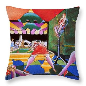 Pool Hall Ladies  Throw Pillow