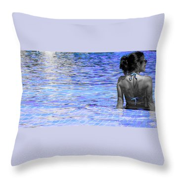 Pool Throw Pillow by J Anthony