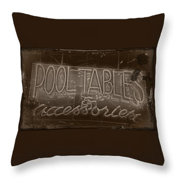 Pool Tables And Accessories - Vintage Neon Sign Throw Pillow by Steven Milner