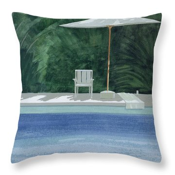 Poolside, 1994 Acrylic On Paper Throw Pillow