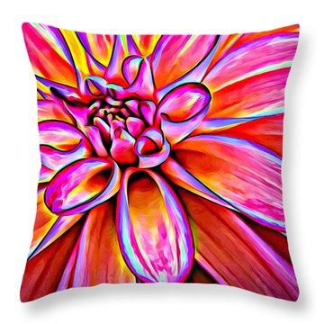 Pop Art Dahlia Throw Pillow