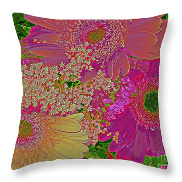Pop Art Daisies Throw Pillow by Dora Sofia Caputo Photographic Art and Design