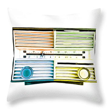 Throw Pillow featuring the photograph Pop Art Vintage Radio by Edward Fielding
