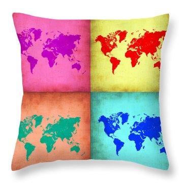 Pop Art World Map 1 Throw Pillow by Naxart Studio