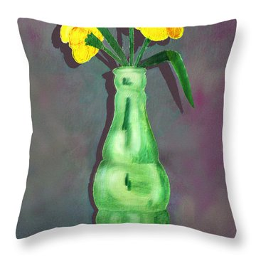 Pop Bottle Daffodil Throw Pillow by Ginny Schmidt