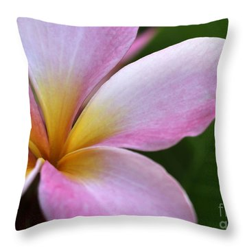 Pop Of Pink Plumeria Throw Pillow