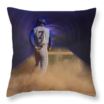 Pop Slide At Third Base Throw Pillow by Thomas Woolworth