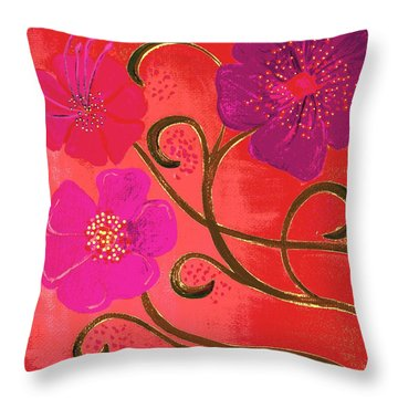 Pop Spring Purple Flowers Throw Pillow by Linda Bailey