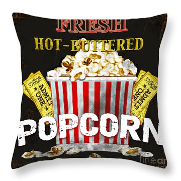 Popcorn Please Throw Pillow by Jean Plout