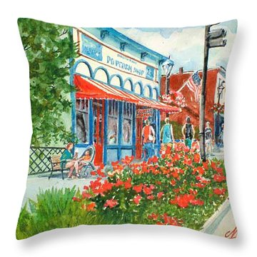 Popcorn Shop In Summer/chagrin Falls Throw Pillow