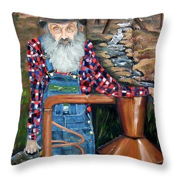 Popcorn Sutton - Bootlegger - Still Throw Pillow