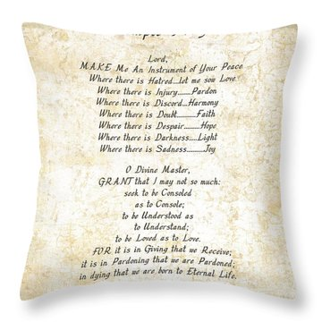 Pope Francis St. Francis Simple Prayer Butterflies Throw Pillow by Desiderata Gallery