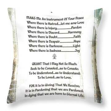 Pope Francis St. Francis Simple Prayer For Peace Throw Pillow by Desiderata Gallery