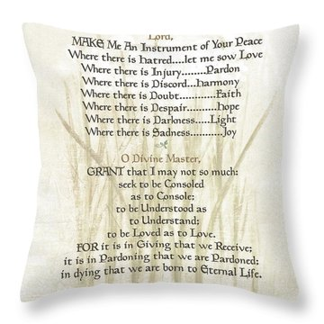 Pope Francis St. Francis Simple Prayer Lilly Of The Valley Throw Pillow by Desiderata Gallery